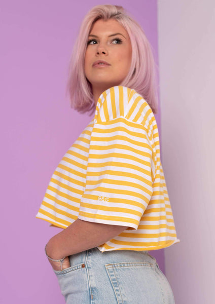 Cropped Simple Striped Tee, White/Yellow | Goose & Gander