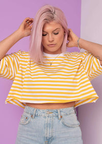 G&G Cropped Simple Striped S/S Tee
