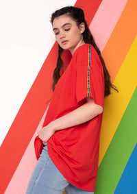 Unisex Rainbow Ribbon Tee, Red | Goose & Gander