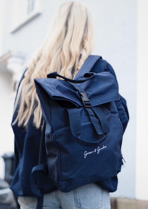Unisex Signature Twin Handle Roll-Top Backpack, Navy | Goose & Gander
