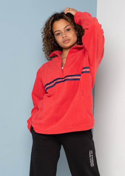 Unisex N/R Ribbon 1/4 Zip Fleece, Red | Goose & Gander