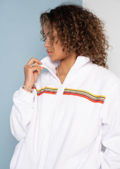 Unisex Sunset-Octave Ribbon Full Zip Fleece, White | Goose & Gander