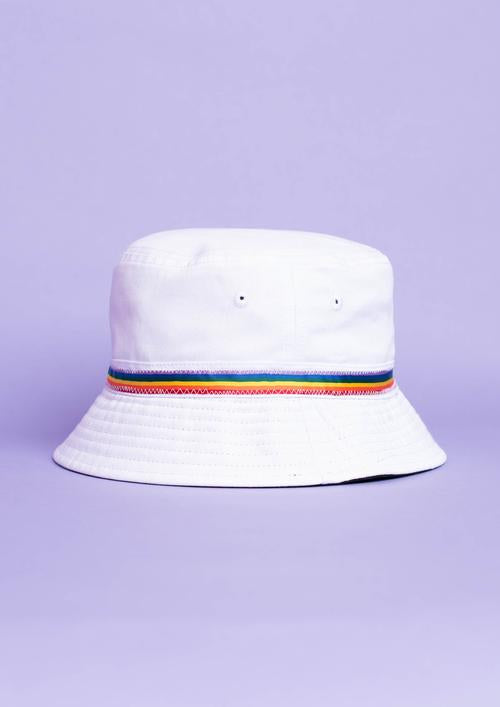 Rainbow White Bucket Hat, White | Goose & Gander