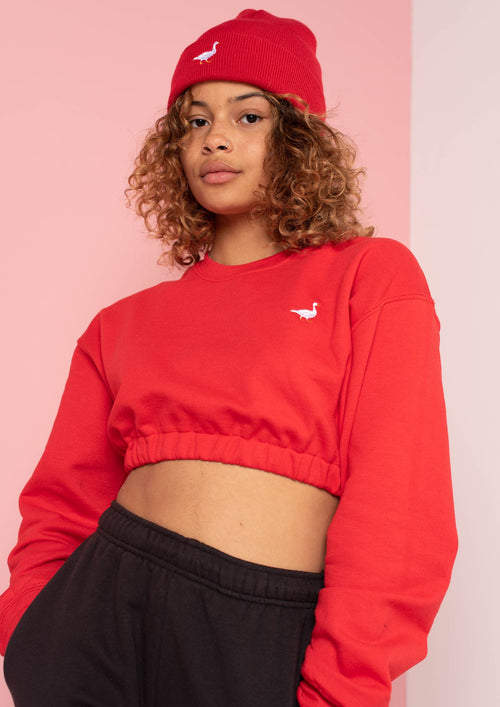 Red Goose Elasticated Crop Sweat, Red | Goose & Gander