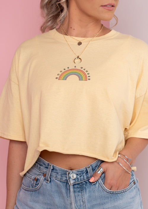 Cropped Lemon Rainbow Tee, Lemon Yellow | Goose & Gander