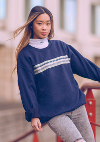Unisex Ballooning Ribbon Sweat, Navy Blue | Goose & Gander