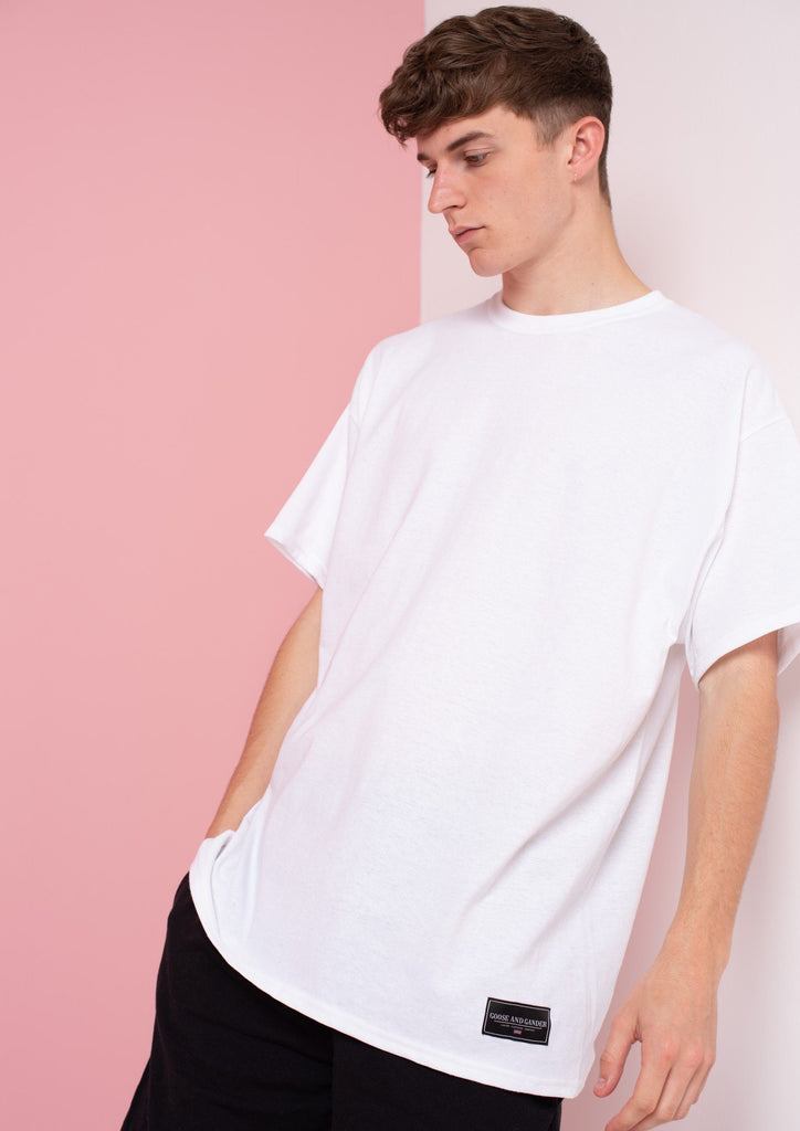 Unisex LTD Logo Patch Tee, White | Goose & Gander