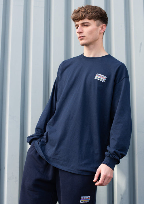 Unisex Rainbow Patch Long Sleeve Tee, Navy Blue | Goose & Gander