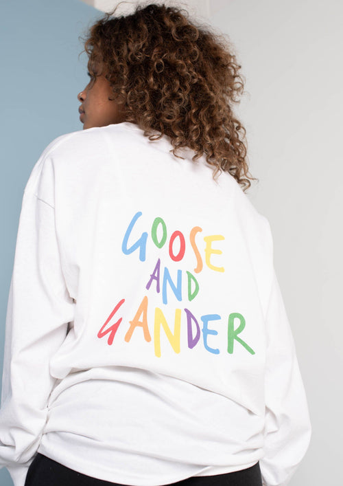 Unisex White Multi Text Long Sleeve Tee, White | Goose & Gander