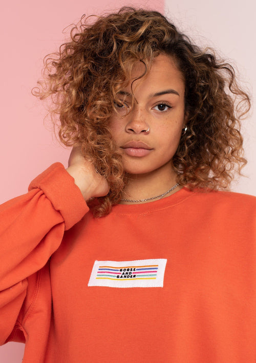 Unisex Lino Patch Sweat, Burnt Orange | Goose & Gander