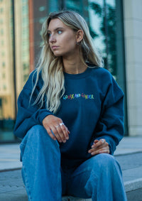 Unisex Multi Text Print Sweat, Legion Blue | Goose & Gander