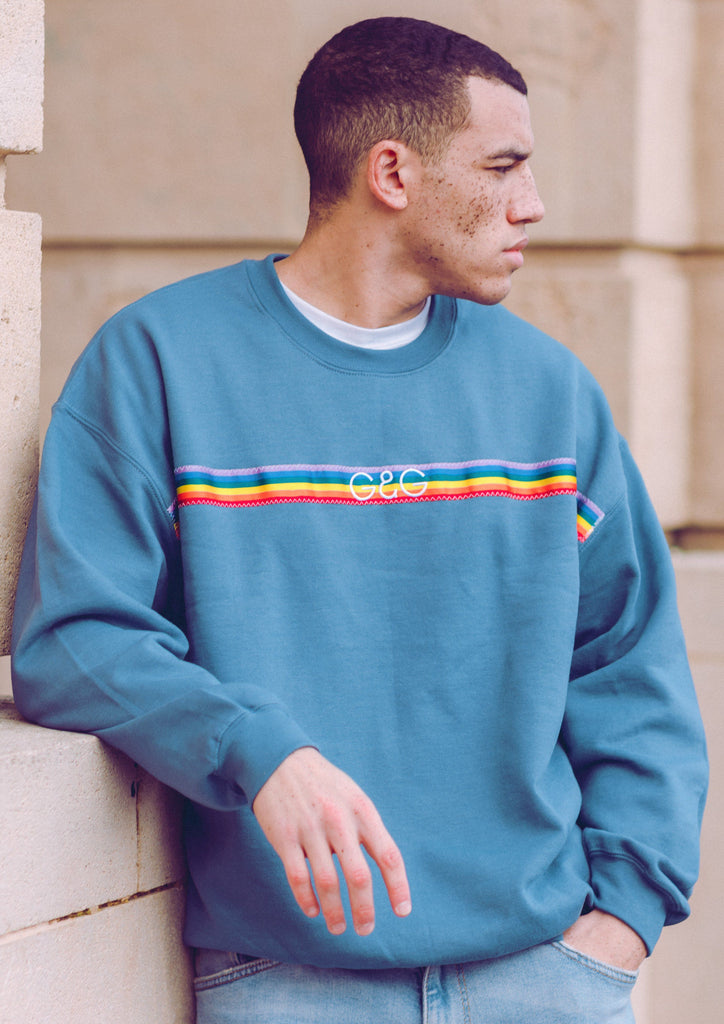 Unisex Rainbow Ribbon Sweat, Indigo Blue | Goose & Gander