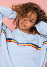 Unisex Rainbow Ribbon Sweat, Baby Blue | Goose & Gander