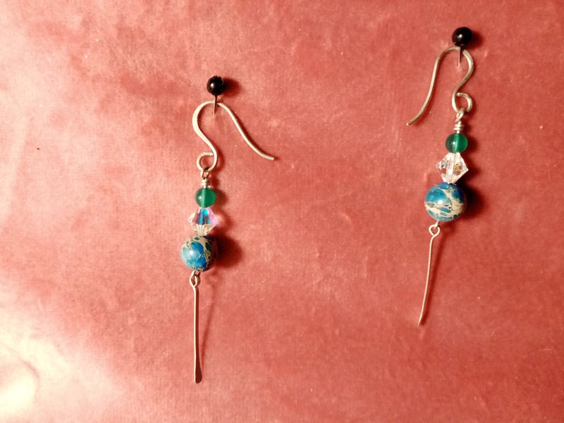 Sterling Silver and Imperial Jasper Earrings