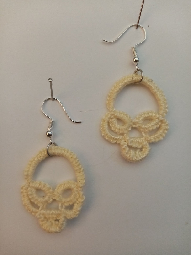 Halloween Skull Tatted Earrings