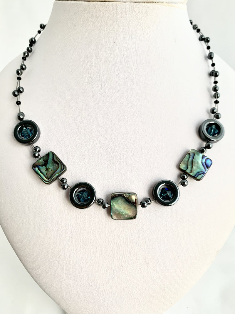 Paua square necklace and hematite rings