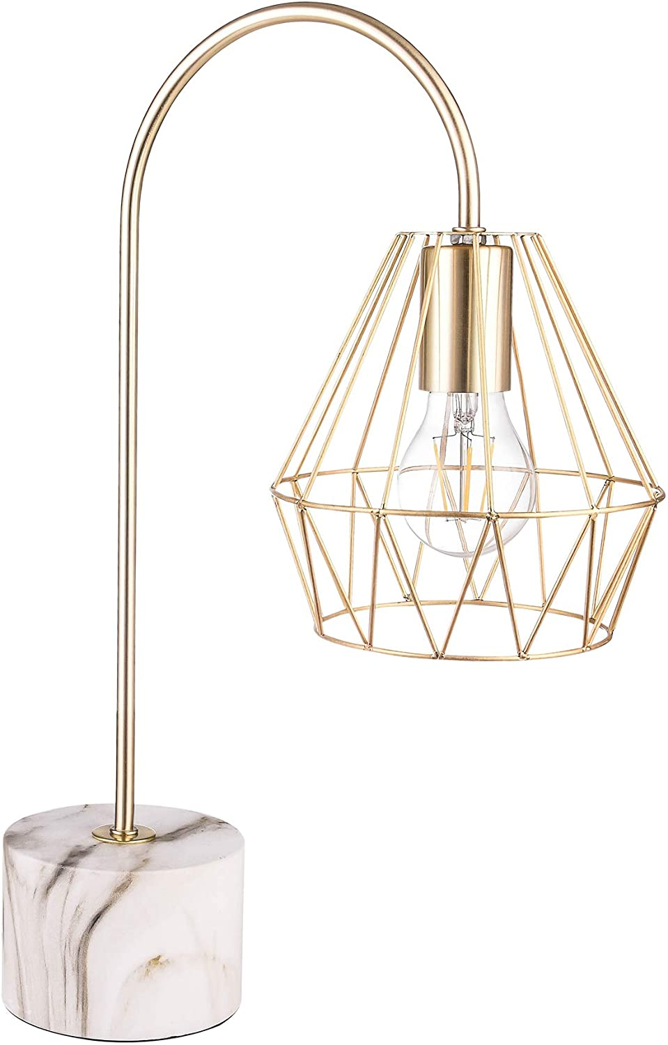 Gold Metal Table Lamp w/ Marble Base