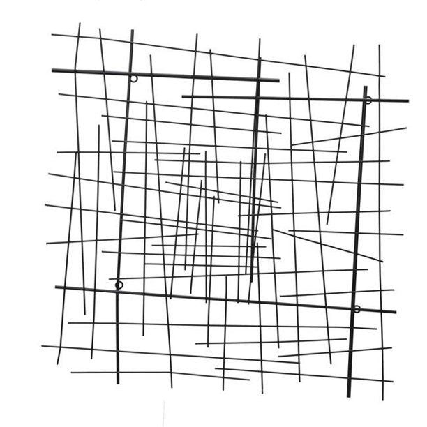 "METAL 28"" ABSTRACT LINES WALL DECOR, BLACK WB"