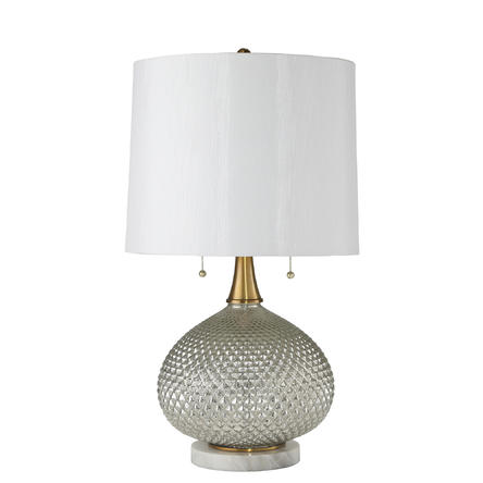 "MERCURY GLASS 27"" ROUND TABLE LAMP W"