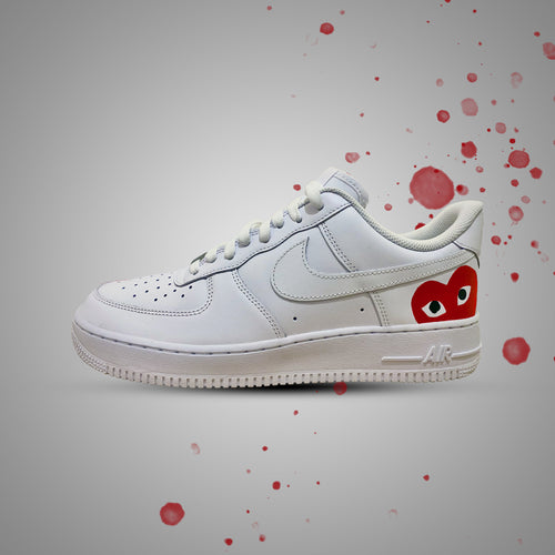 CDG Heart Red Custom Air Force 1 Painted