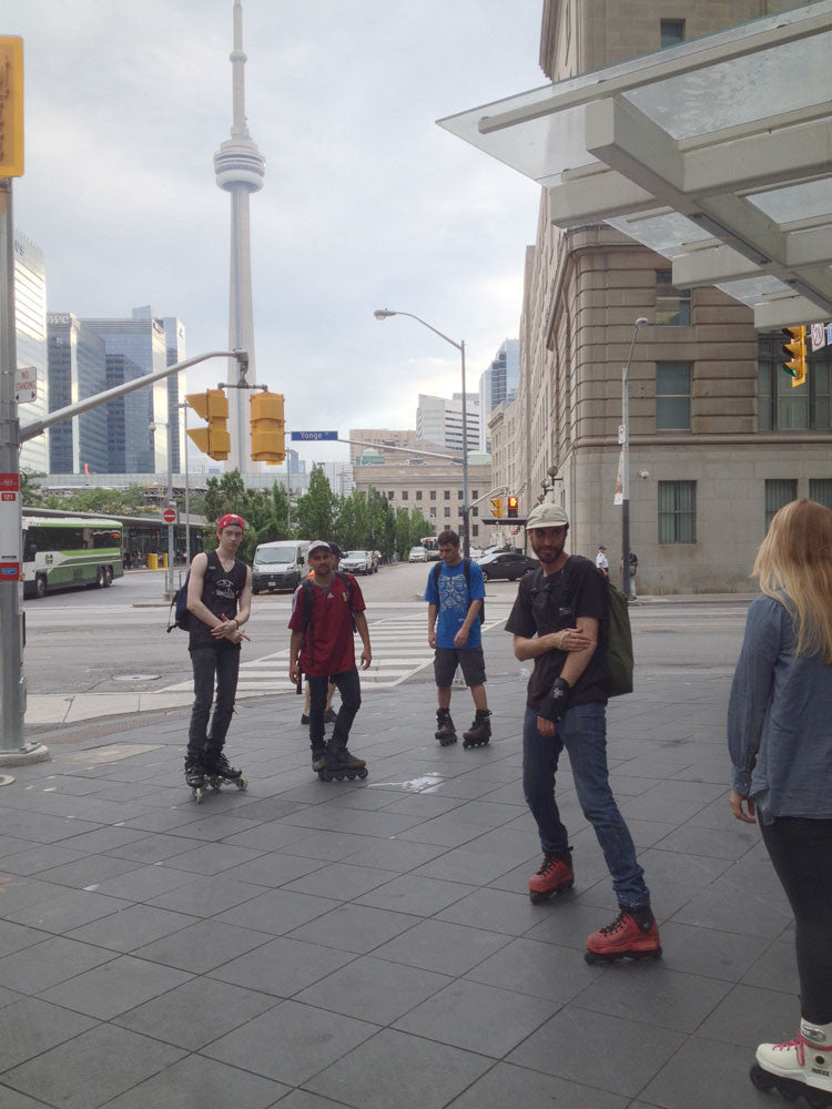 Inline skating in Toronto near Union Station