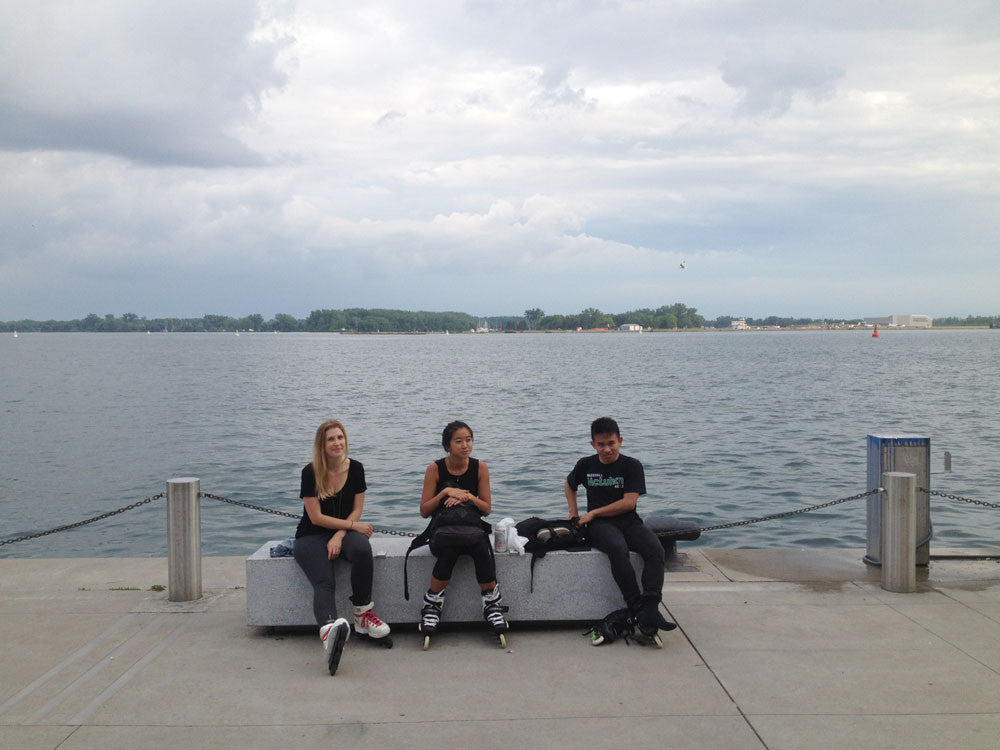 Taking a break by the water at HTO Park West in Toronto