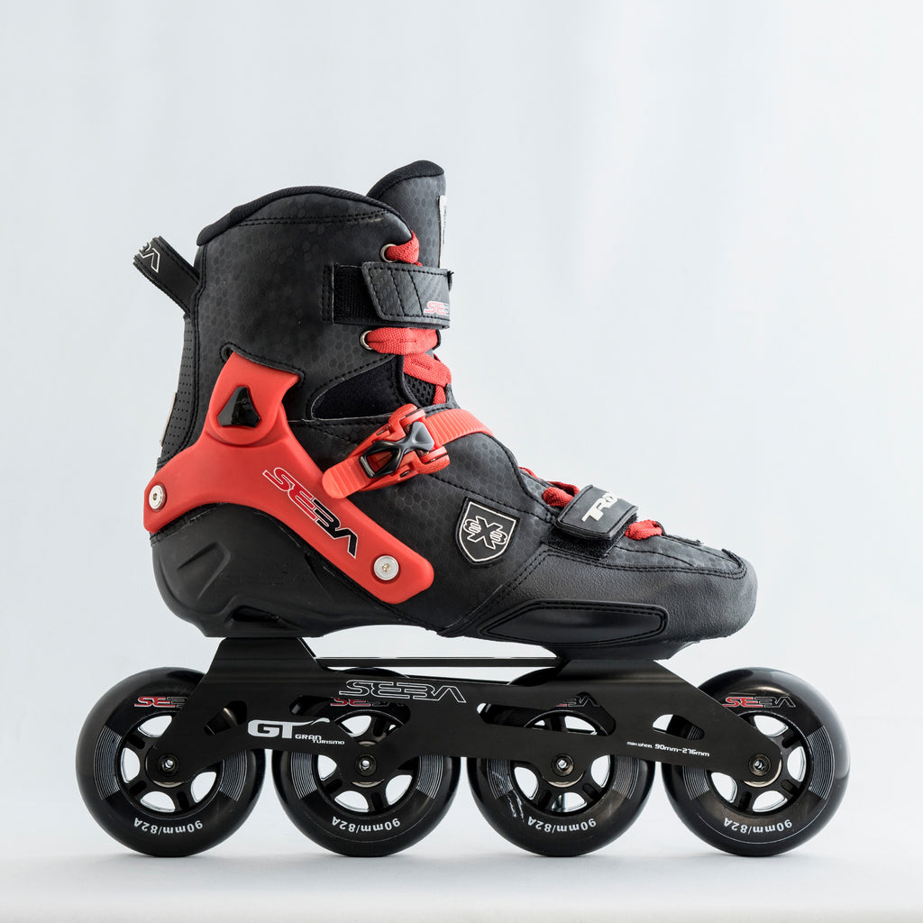 Seba Trix 2 90 Inline Skates with optional red colour kit.