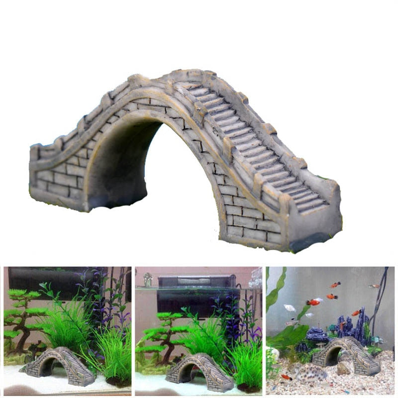 Creative Aquarium Decoration Resin Bridge Fish Tank  Landscape Ornament Garden Style Craft Ornaments