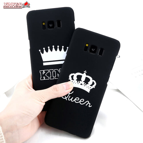 Matte Soft TPU Silicone Case For Samsung Galaxy S10 S9 Plus Note9 A6 2018 J3 J5 J7 2017 KING Queen Crown Letter Cover Phone Case