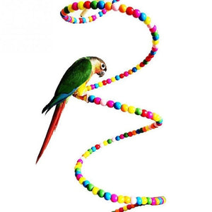 Multicolor Beads Birds Cage Toys Pets Birds toys Wooden Bird Ladder Swing Exercise Rainbow Hamster Parrot Parakeet Toy 100CM