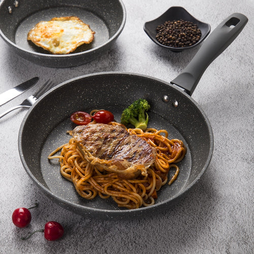 100% PFOA Free Stone-Derived NonStick Frying Pan Coating 5 Layers Bottom Soft Handle Aluminum Dishwasher Safe Cooking Pan Set