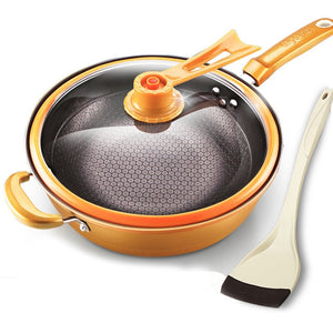 Kitchen Pot 32cm Iron Frying Pan Heat-preserve Vacuum Pot Boiling Cease-fire Health Preservation Pan Cooking Wok Pan with Uprigh