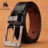 NO.ONEPAUL cow genuine leather luxury strap male belts for men new fashion classice vintage pin buckle men belt High Quality
