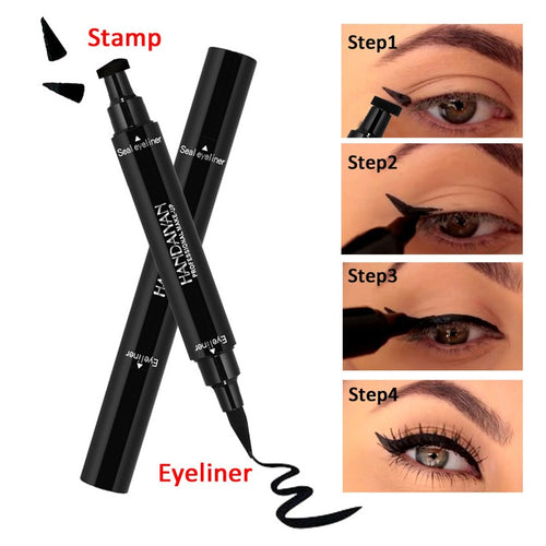 HANDAIYAN Black Dual-ended Eyeliner Pencil with Stamp Seal  Waterproof Liquid Wing Eye Liner Cosmetics Easy To Wear TSLM1
