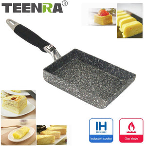 TEENRA Aluminium Alloy Fried Eggs Pans Mini Square Non-Stick Japanese-Style Frying Pan Fried Eggs Pans Maker Breakfast Pot