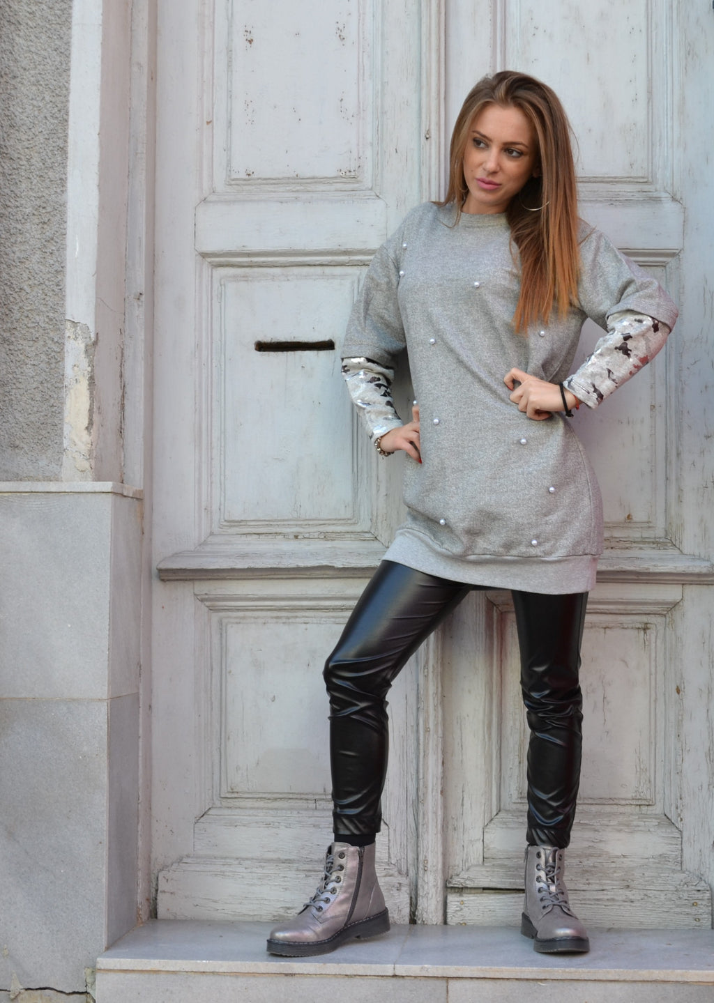 Дамска блуза GRAY MILITARY BLOUSE