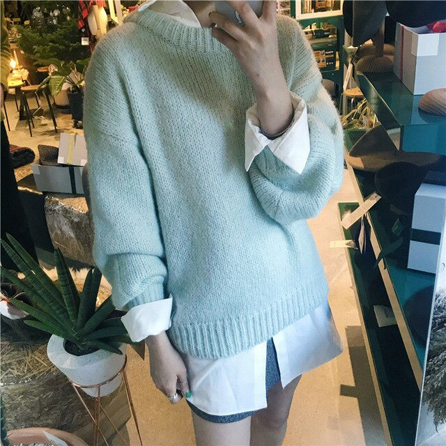 Дамски суитшърт Solid knitted pullover