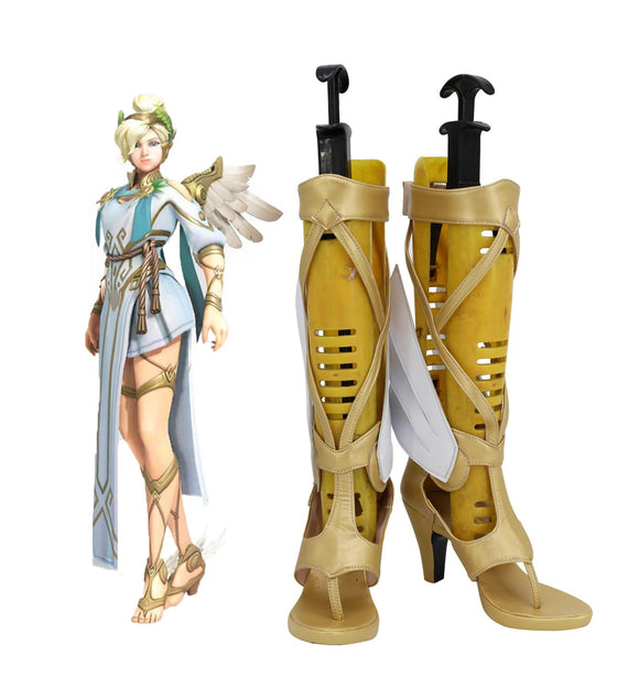 Overwatch OW Guardian Angel Mercy Angela Ziegler Legendary Winged Victory Ver. Game Cosplay Shoes Golden Boots