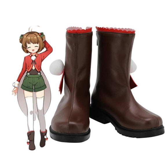Cardcaptor Sakura Kinomoto Sakura Cosplay Boots Brown Leather Shoes Custom Made