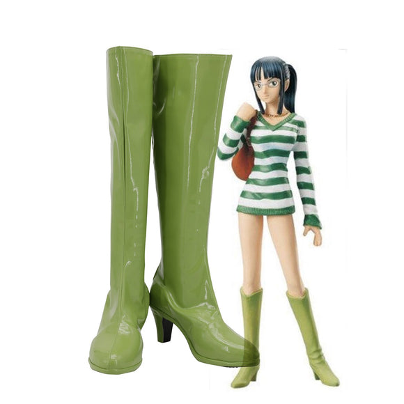 One Piece Nico Robin Cosplay Boots Green High Heel Shoes Custom Made for Unisex Halloween Comic-con Cosplay Costume Accessories