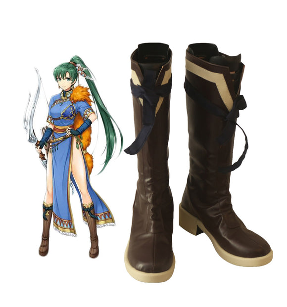 Fire Emblem Blazing Sword Lyn Cosplay Boots Brown Shoes Custom Made Unisex Halloween Costumes Accessories