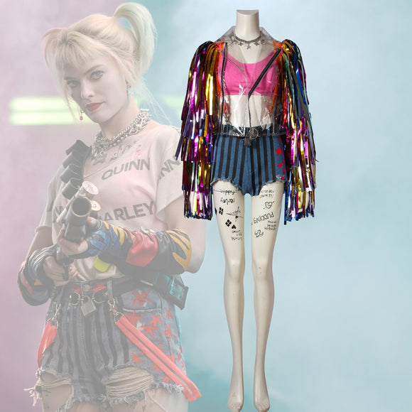 Birds Of Prey Harley Quinn Cosplay Costume Coloful Tassel Coat Pants Full Set Custom Made