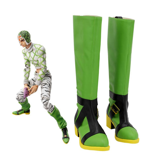 JOJO Guido Mista Green Shoes Cosplay JoJo's Bizarre Adventure Guido Mista Cosplay Boots Leather Shoes Custom Made