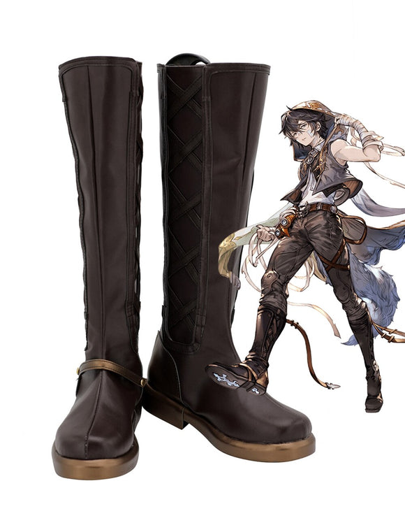 Granblue Fantasy Ayer Cosplay Boots Brown Shoes Custom Made Any Size