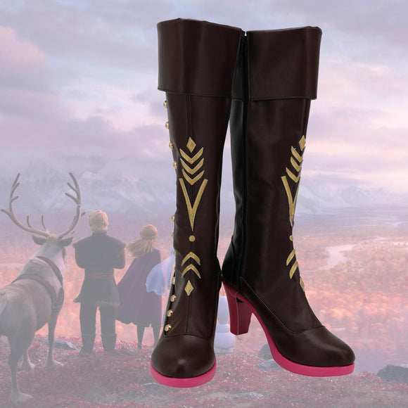 Frozen 2 Princess Anna Brown Cosplay Boots High Heel Shoes Custom Made Any Size for Adults and Kids