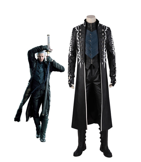 Devil May Cry5 Vergil Cosplay Costume DMC5 Vergil Aged Cosplay Costume Leather Jacket Vest Pants Boots Full Set Custom Made Halloween