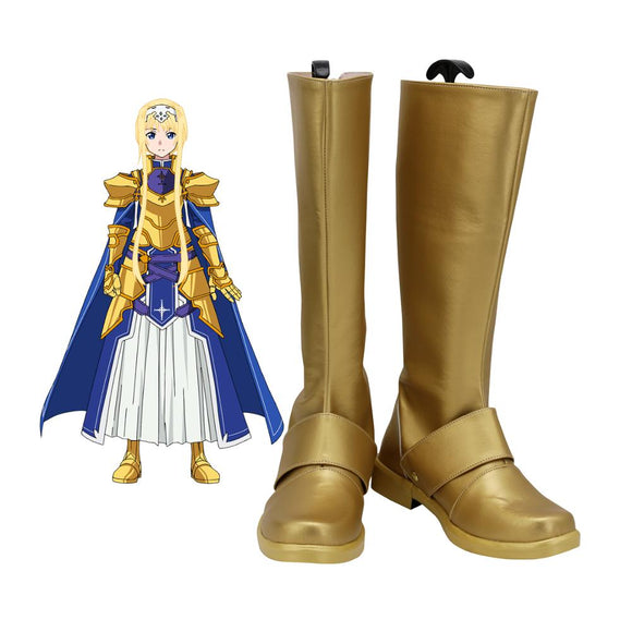 Sword Art Online Alice Zuberg Cosplay Boots Golden SAO Alice Leather Shoes Custom Made