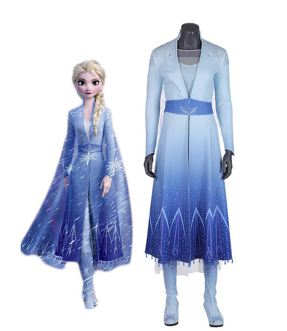 Frozen2 Princess Elsa Dress Cosplay Costume Queen Elsa Snow Dress Boots Headwear Full Set Cosplay