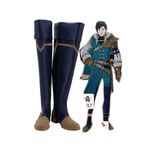 Fire Emblem Felix Blue Shoes Cosplay Fire Emblem: Three Houses Felix Cosplay Shoes Knee High Leather Shoes Custom Made
