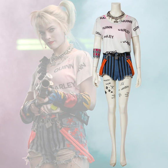 2020 Film Birds of Prey Harley Quinn Cosplay Costume Vest Shorts Tshirt Necklace Rings Tatoo Full Set Custom Made